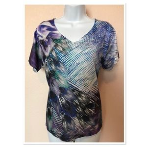 Chico's Purple Blue White Embellished Top Size 1